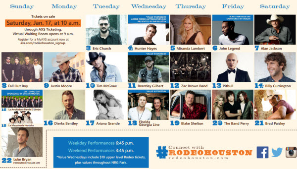 2015 Houston Rodeo Concerts Lineup Acountry