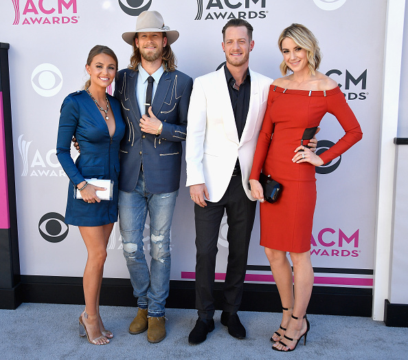 LAS VEGAS, NV - APRIL 02: (L-R) Brittney Marie Cole, recording artists Brian Kelley and Tyler Hubbard of music group Florida Georgia Line, and Hayley Stommel attend the 52nd Academy Of Country Music Awards at Toshiba Plaza on April 2, 2017 in Las Vegas, Nevada. (Photo by Frazer Harrison/Getty Images)