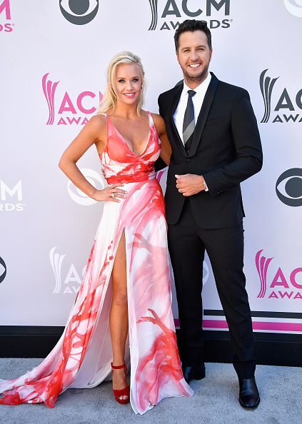 LAS VEGAS, NV - APRIL 02: Caroline Boyer (L) and co-host Luke Bryan attend the 52nd Academy Of Country Music Awards at Toshiba Plaza on April 2, 2017 in Las Vegas, Nevada. (Photo by Frazer Harrison/Getty Images)